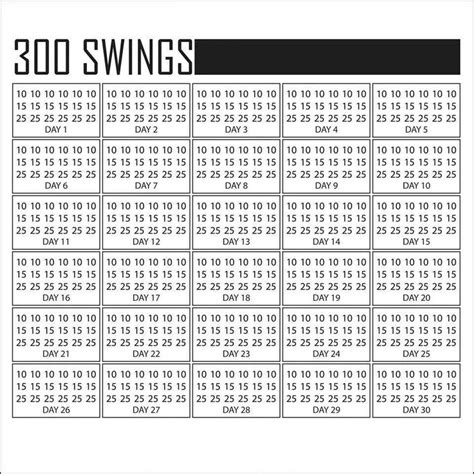 300 Swings A Day Calendar Today Is Day 1 4 19 14