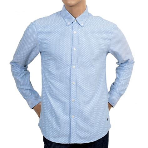 pattern light blue shirt sky blue polka dot long sleeve shirt by scotch and soda