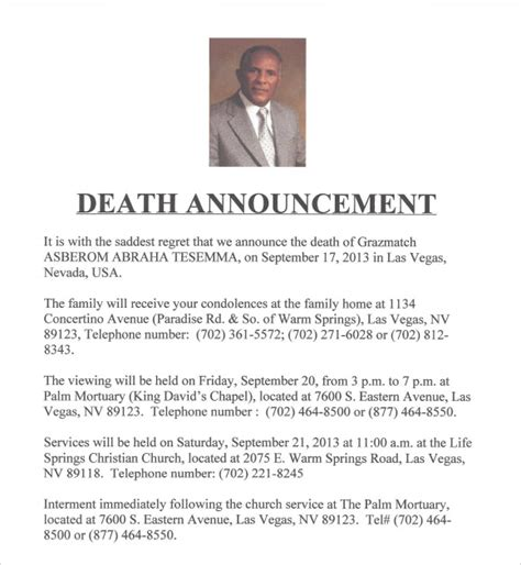 death notice template 9 download free documents in pdf