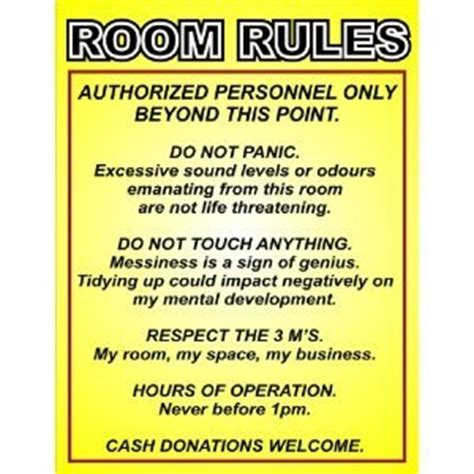 posters for bedroom doors p2229 room rules funny door wall poster print amazon co uk kitchen home