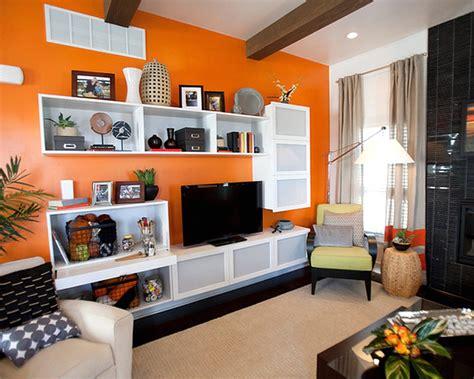 warna cat rumah terkini orange walls in living room