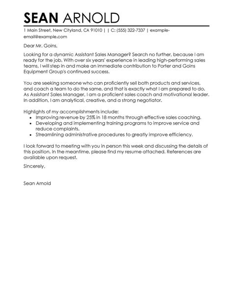 cover letter format and sles leading professional assistant manager sle cover letter