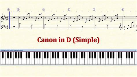 keyboard tutorial canon piano tutorial sheet canon in d simple hd youtube