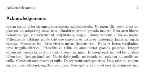 Acknowledgement Section by Sectioning Missing Header In Acknowledgement Part Tex