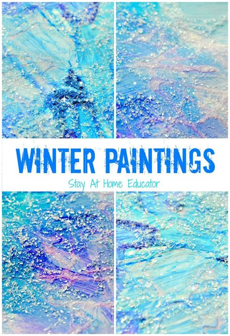 winter themed drawing sparkly winter paintings make gorgeous winter process art