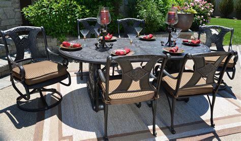 aluminum patio furniture sets amalia 6 person luxury cast aluminum patio furniture dining set with swivel chairs