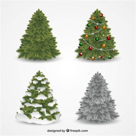 decorative christmas trees collection vector free download