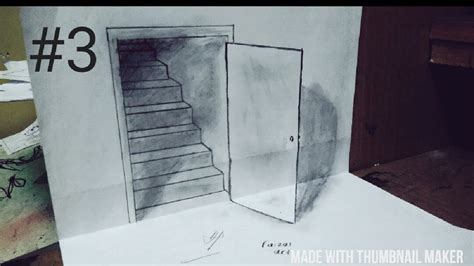 Tutorial Gambar 3d Art | tutorial trick art drawing the door illusion cara