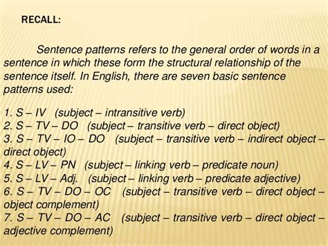 pattern in sentences basic sentence patterns and traditional classification of