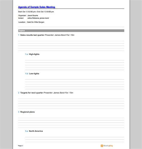sales meeting agenda template sle templates