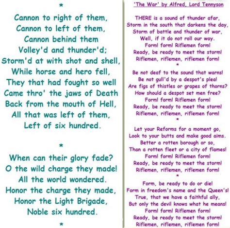 tennyson and 'the charge of the light brigade' (poetry
