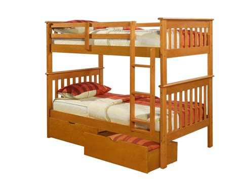 bunk beds twin twin over twin mission bunk bed honey kids furniture ebay