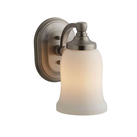 Kohler Bathroom Lighting Brushed Nickel Kohler Bancroft 1 Light Vibrant Brushed Nickel Led Wall Sconce K 11421 Bn The Home Depot