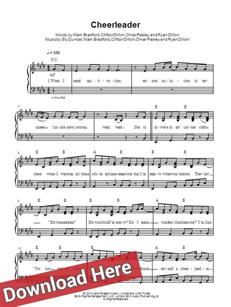 omi music omi cheerleader piano notes sheet music