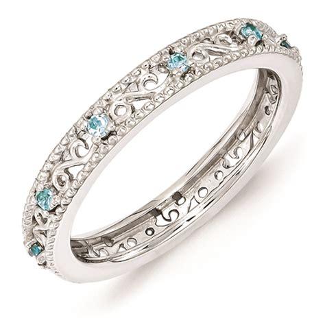 carinagems sterling silver ring blue topaz birthstones