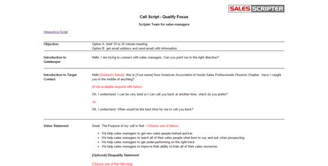 cold call script template salesscripter a sales application that helps