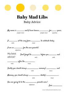free baby mad libs baby advice baby shower ideas