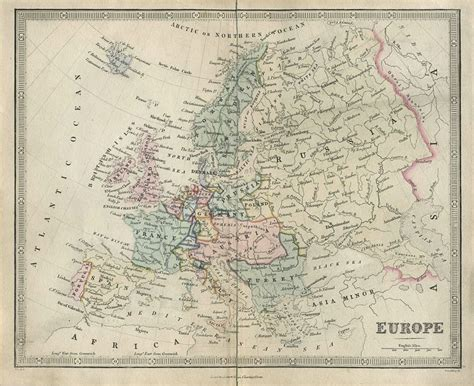 and antique prints and maps europe map 1850 europe