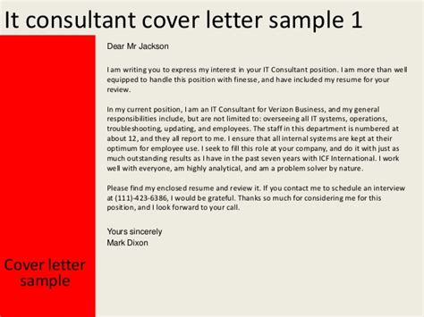 Bpm Consultant Cover Letter by It Consultant Cover Letter