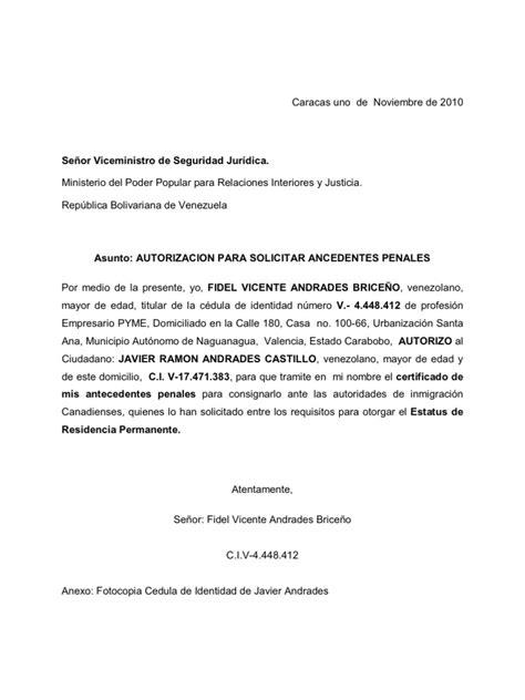 carta de autorizacion acudiente carta de autorizacion para tramitar antecedentes penales