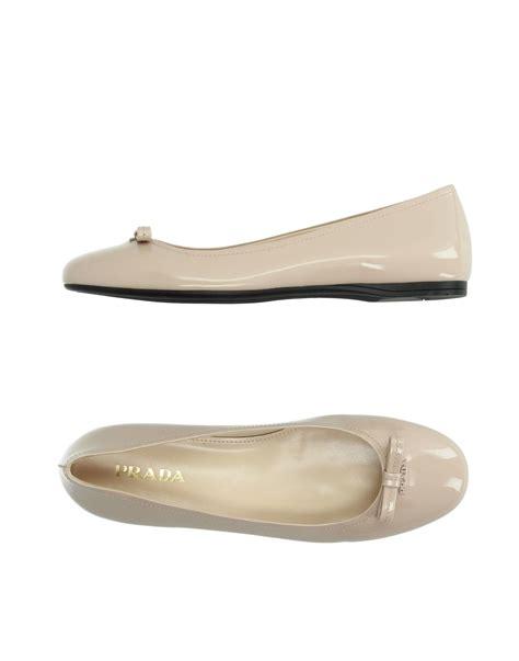 prada shoes flats prada patent leather ballet flats in lyst