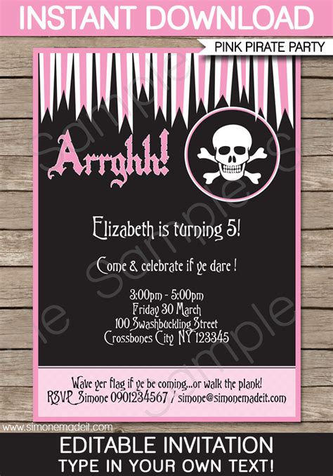Pirate Girl Party Invitations Template Birthday Party Pirate Birthday Invitation Template