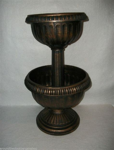Tiered Antique Finish Plastic Urn Planter Plastic Urn Planters