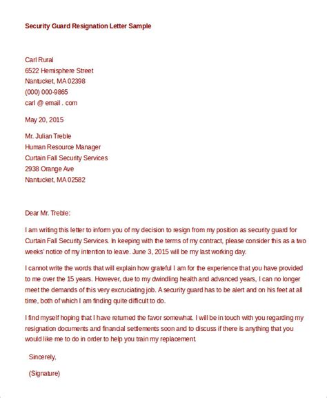 Contract Letter Format For Security Guard formal resignation letter sle novasatfm