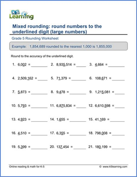 grade 5 math worksheet place value and rounding