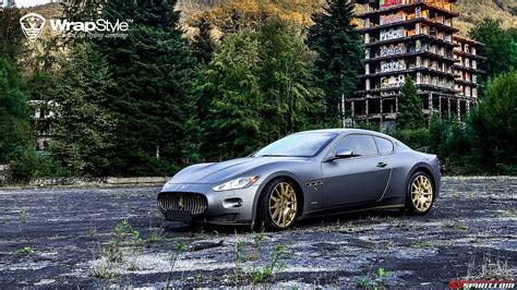 maserati wrapped maserati granturismo wrapped in grey aluminum by wrapstyle