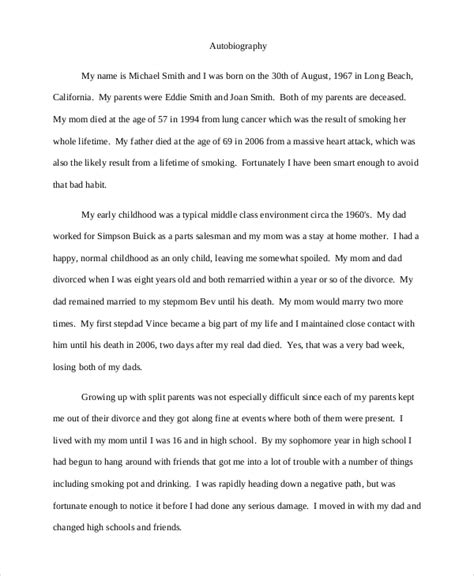 five exle of biography and autobiography 9 autobiography exle free premium templates
