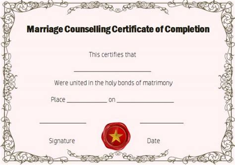 premarital counseling certificate of completion template free marriage counseling certificate of completion