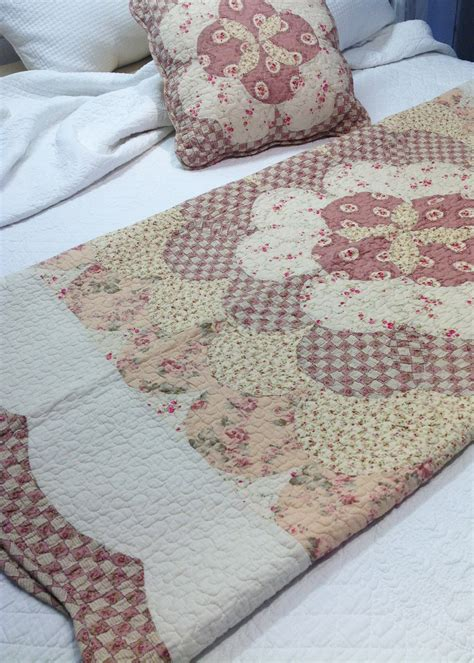 country vintage inspired patchwork bed quilt