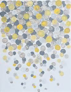 grey and yellow 11x14 canvas painting confetti yellow grey