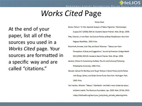 Reference List The Sources Used At The End Of The Essay by Creating Citations Objective Students Will Understand How To Create A Citation Using Mla Format