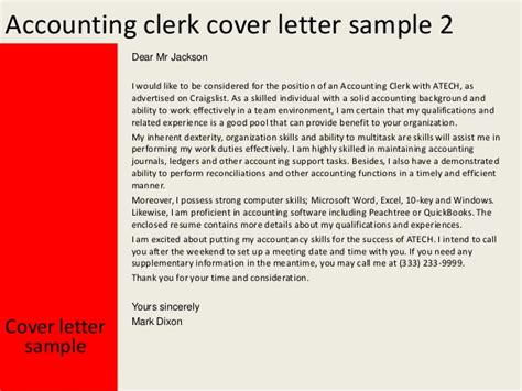 sle of cover letter for accounting accounting clerk cover letter
