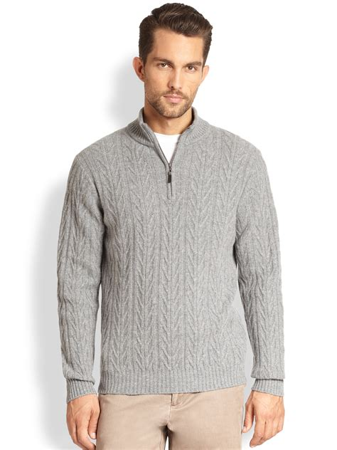 Avenue Black lyst saks fifth avenue black label halfzip cable knit