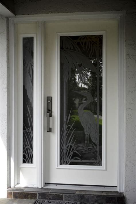 Hurricane Exterior Doors Etched Glass Egret With Palmtrees On Hurricane Impact Glass For The Front Door Has A Matching