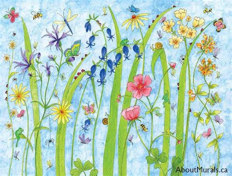 butterfly garden flower wall mural removable wallpaper