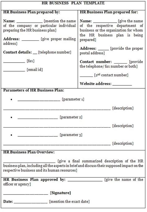 department business plan template business plan template sle printable
