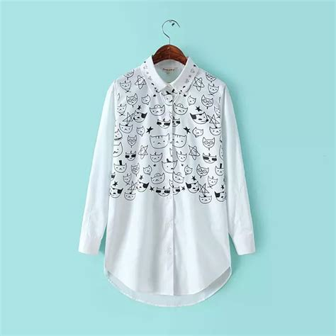 Hneck Birdy Blouse Jumbo Casual Blouse Casual cat blouse white shirt with sleeve printed large size casual lapel tops