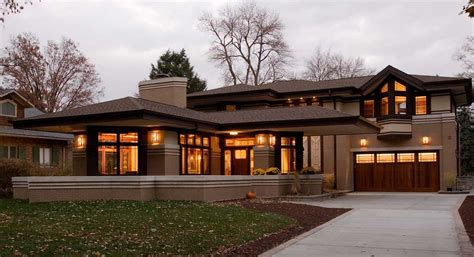 Frank Lloyd Wright Inspired | elegant frank lloyd wright prairie style with garage and