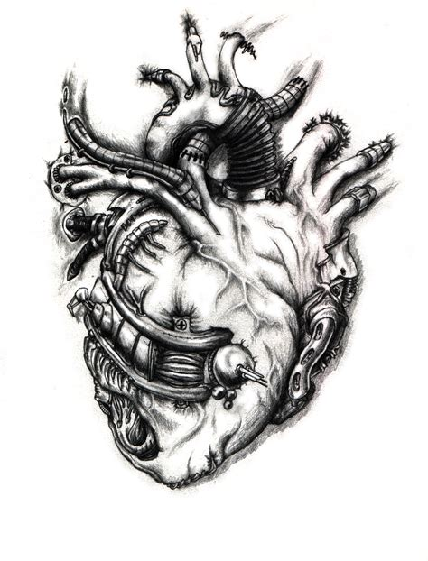 biomechanical heart tattoo biomechanical the bobbu