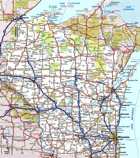 wisconsin on us map wisconsin road map
