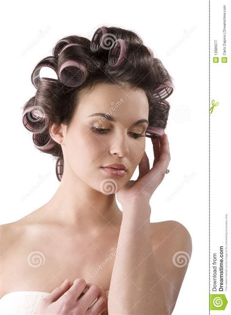 women in hair rollers woman with hair rollers royalty free stock photography