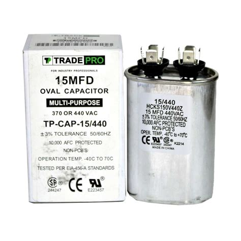run capacitor specifications 15 mfd 370 or 440 oval run capacitor tp cap 15 440 hcks150v440z