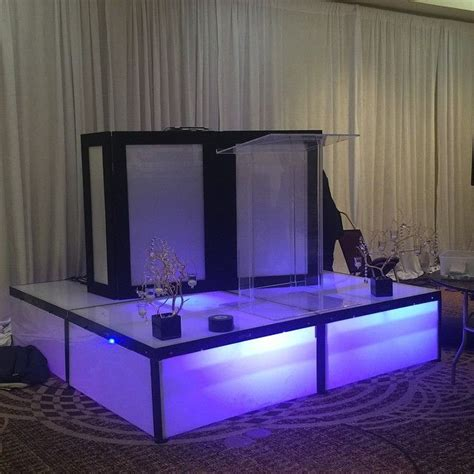 podium drape led stage led dj booth acrylic podium and pipe and drape