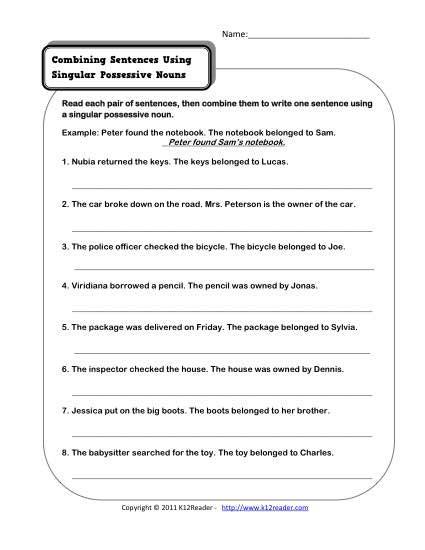 Singular Possessive Nouns Worksheet possessive nouns quiz printable