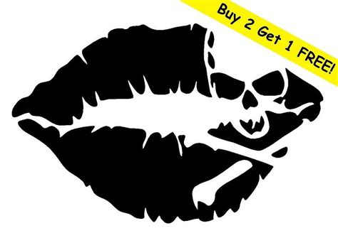 skull lips vinyl decal sticker car window wall bumper