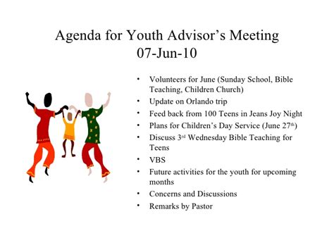 for youth agenda for youth advisor s meeting